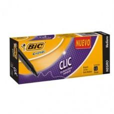 BOLIGRAFO BIC CRISTAL CLIC RETRACTIL NEGRO C/12