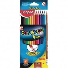 COLORES MAPED COLOR PEPS GRUESO 4 MM C/12+3 PZAS.
