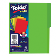 FOLDER BRIGHTS DIEM CARTA PTE. C/25 PZAS. VERDE LIMON 12