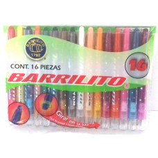 CRAYON BARRILITO GIRABLE C/16 PIEZAS